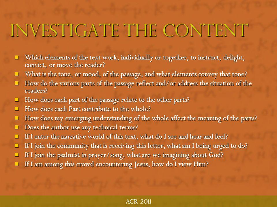 Investigate the Content