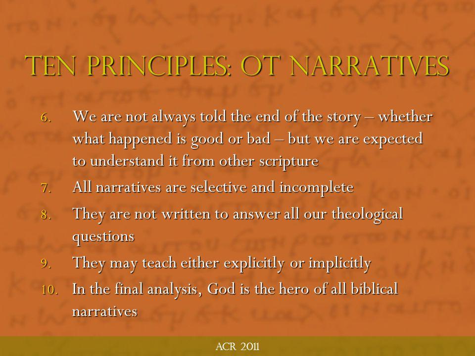 Ten Principles: OT Narratives