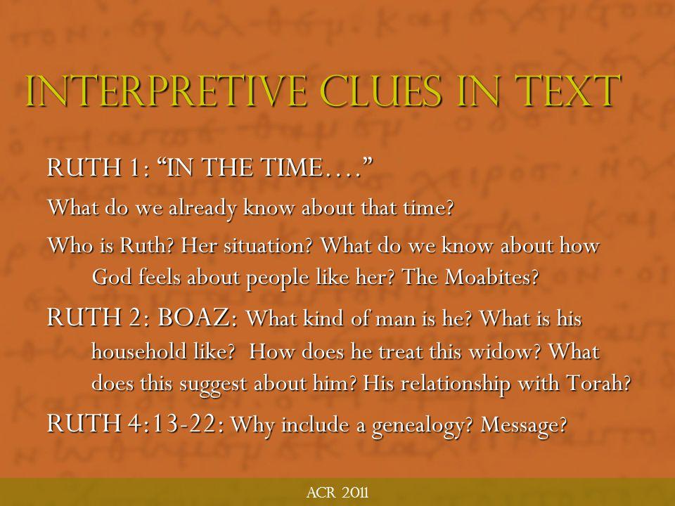 INTERPRETIVE CLUES IN TEXT