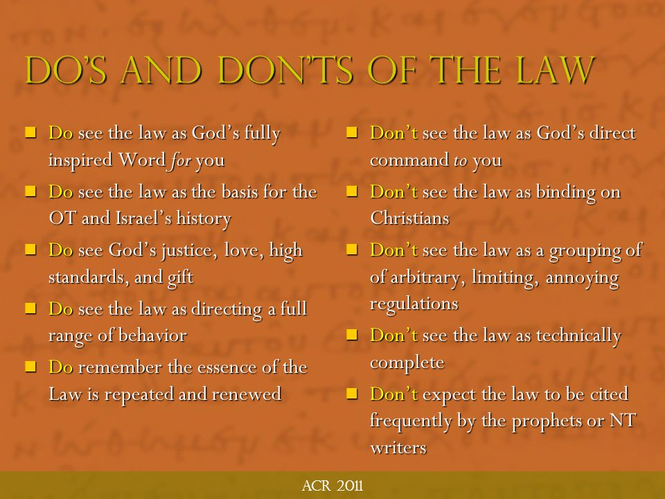 Do's and Don'ts of the Law