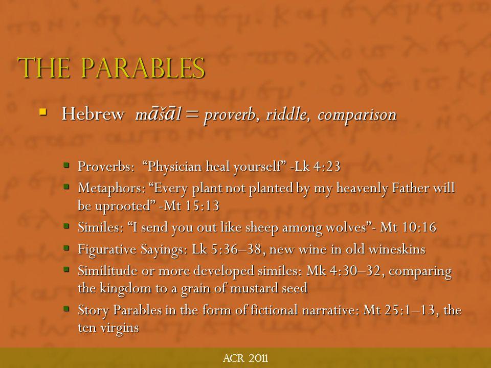 The parables Hebrew māšāl = proverb, riddle, comparison