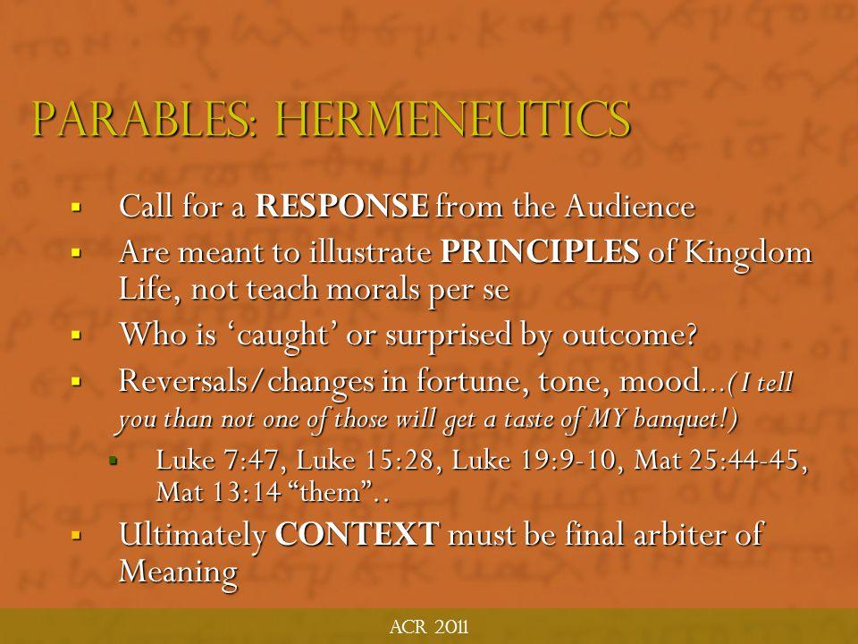 Parables: hermeneutics