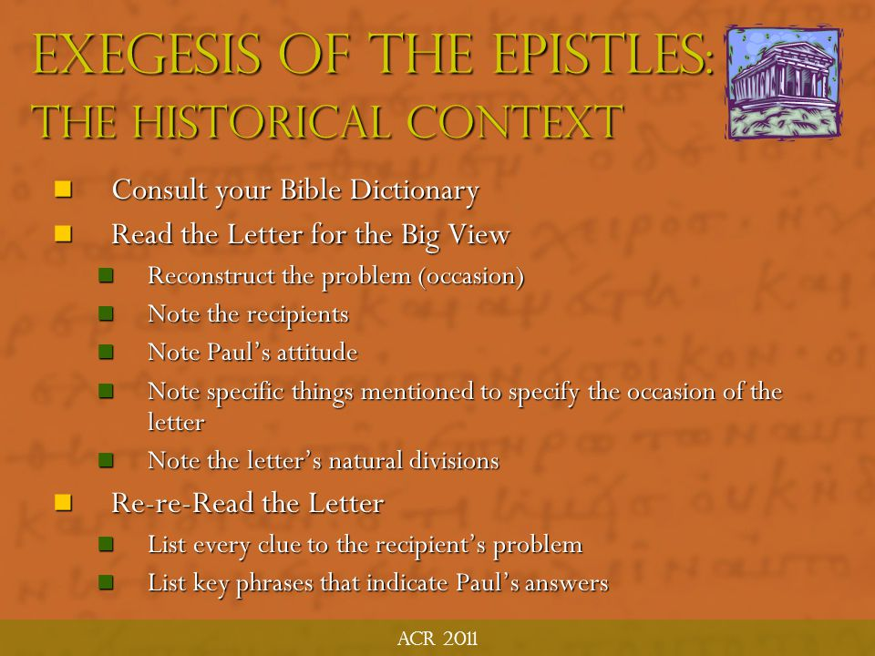 Exegesis of the Epistles: The Historical Context