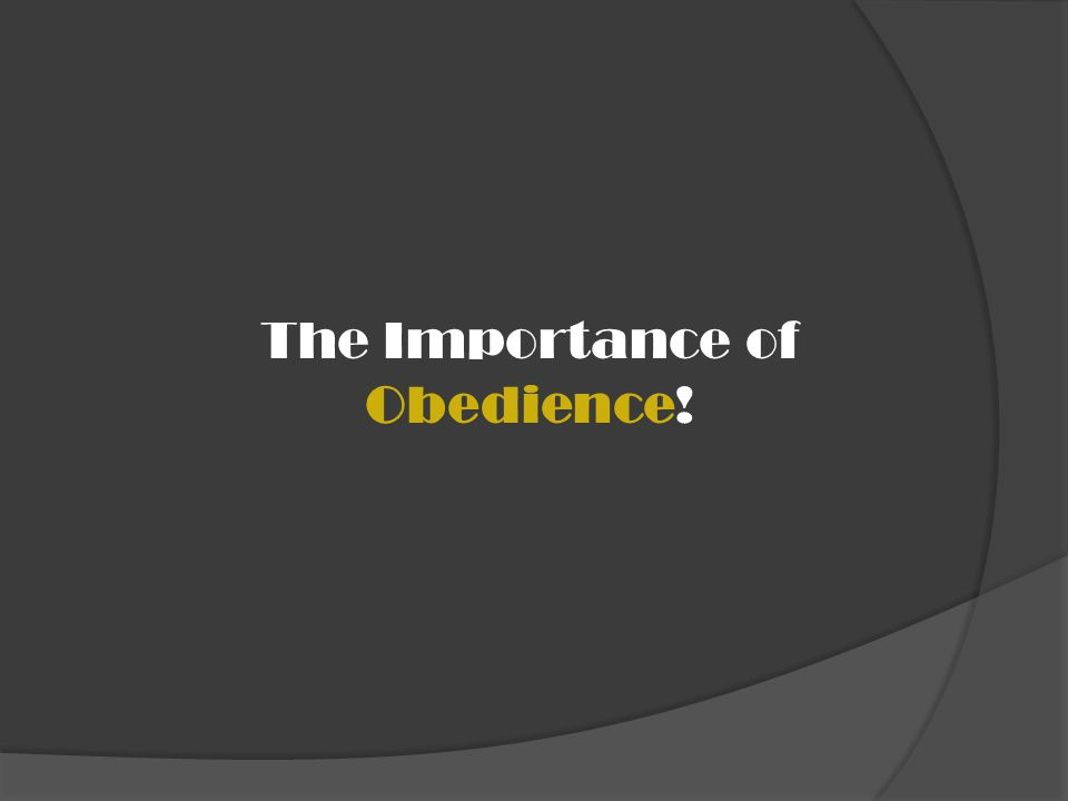 The Importance of Obedience!