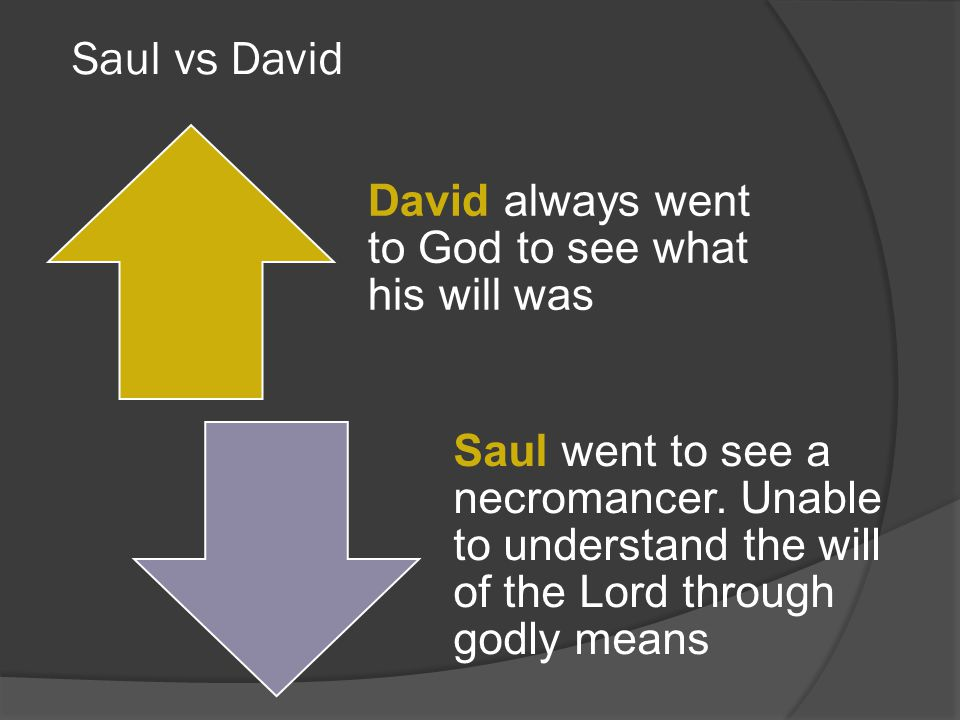 Saul vs David David always went to God to see what his will was