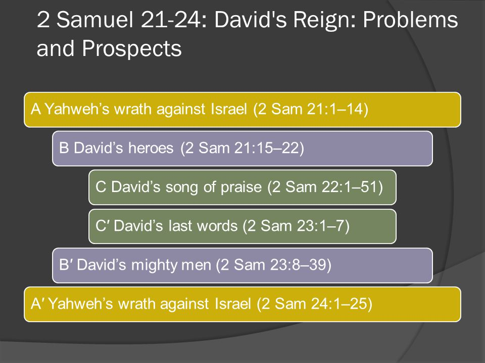 2 Samuel 21-24: David s Reign: Problems and Prospects