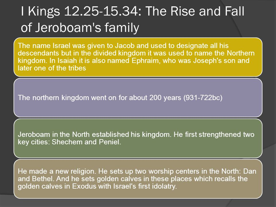 I Kings 12.25-15.34: The Rise and Fall of Jeroboam s family