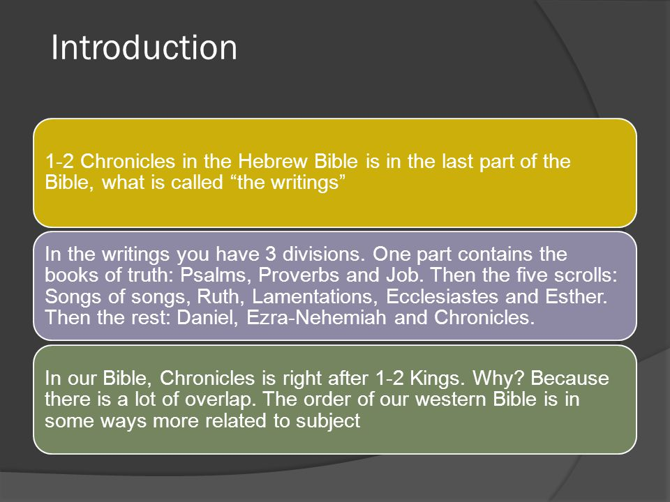 Introduction 1-2 Chronicles in the Hebrew Bible is in the last part of the Bible, what is called the writings