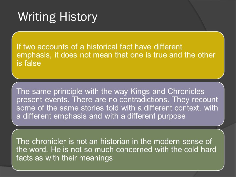 Writing History If two accounts of a historical fact have different emphasis, it does not mean that one is true and the other is false.