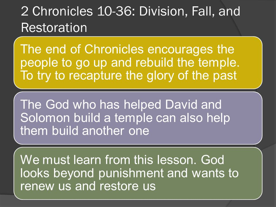 2 Chronicles 10-36: Division, Fall, and Restoration