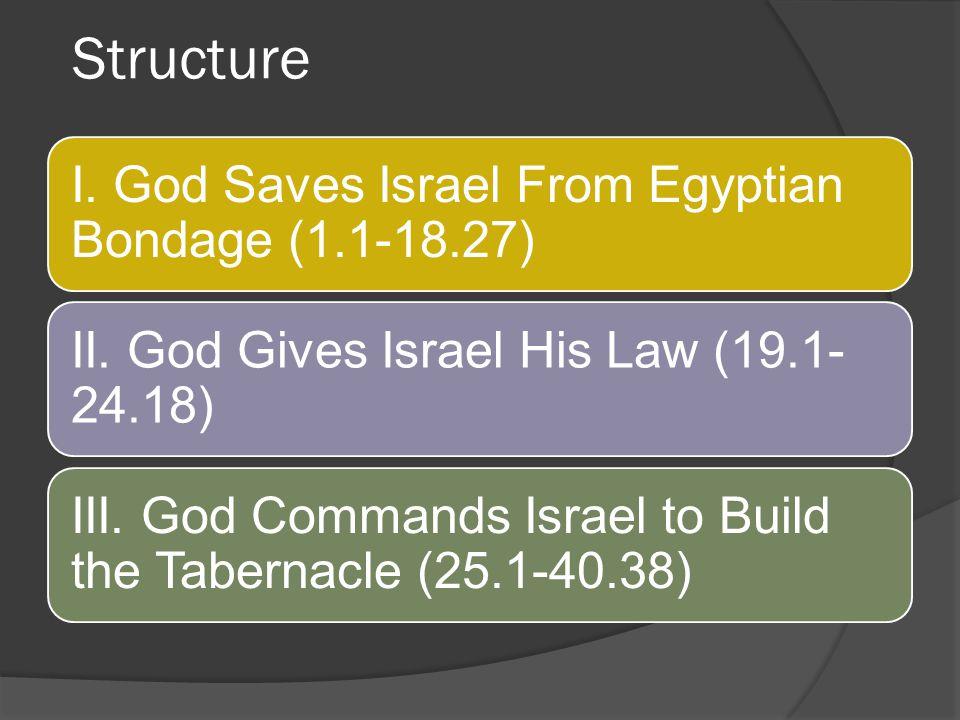 Structure I. God Saves Israel From Egyptian Bondage (1.1-18.27)