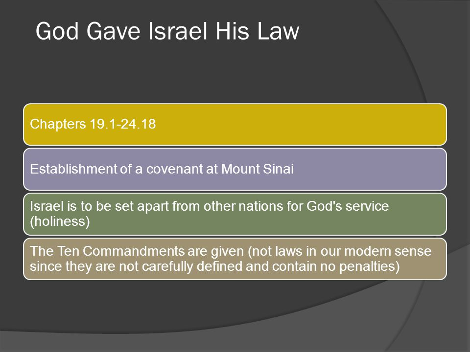 God Gave Israel His Law Chapters 19.1-24.18