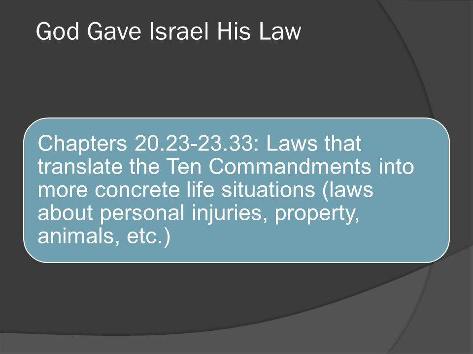 God Gave Israel His Law