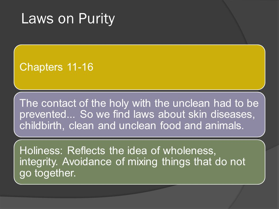 Laws on Purity Chapters 11-16