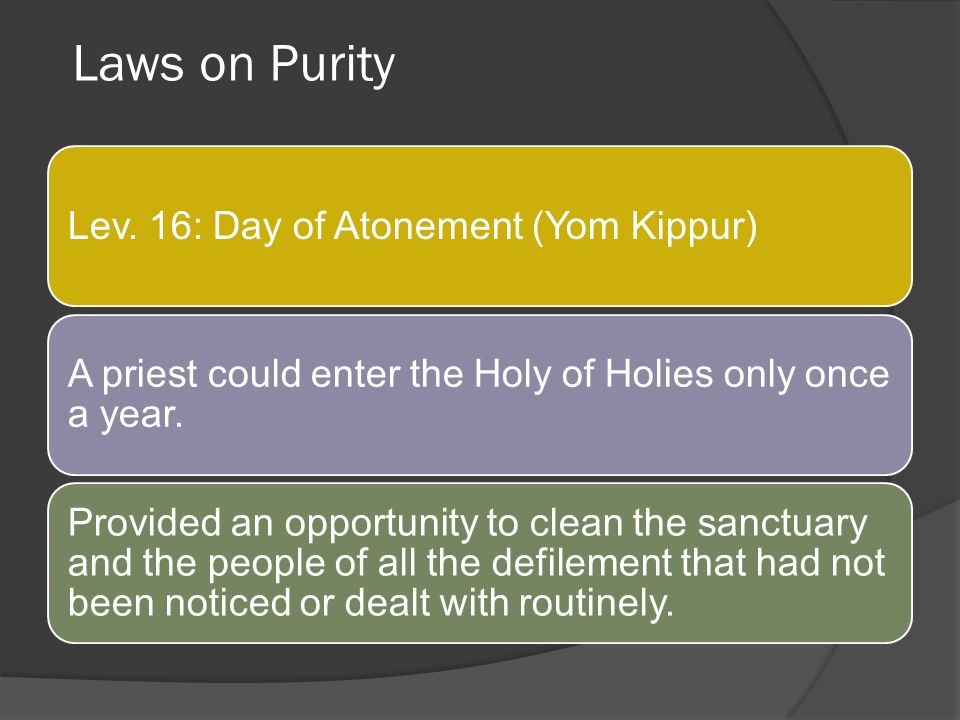 Laws on Purity Lev. 16: Day of Atonement (Yom Kippur)