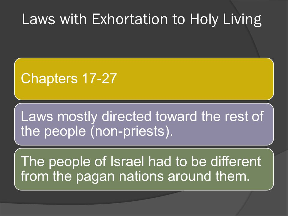 Laws with Exhortation to Holy Living