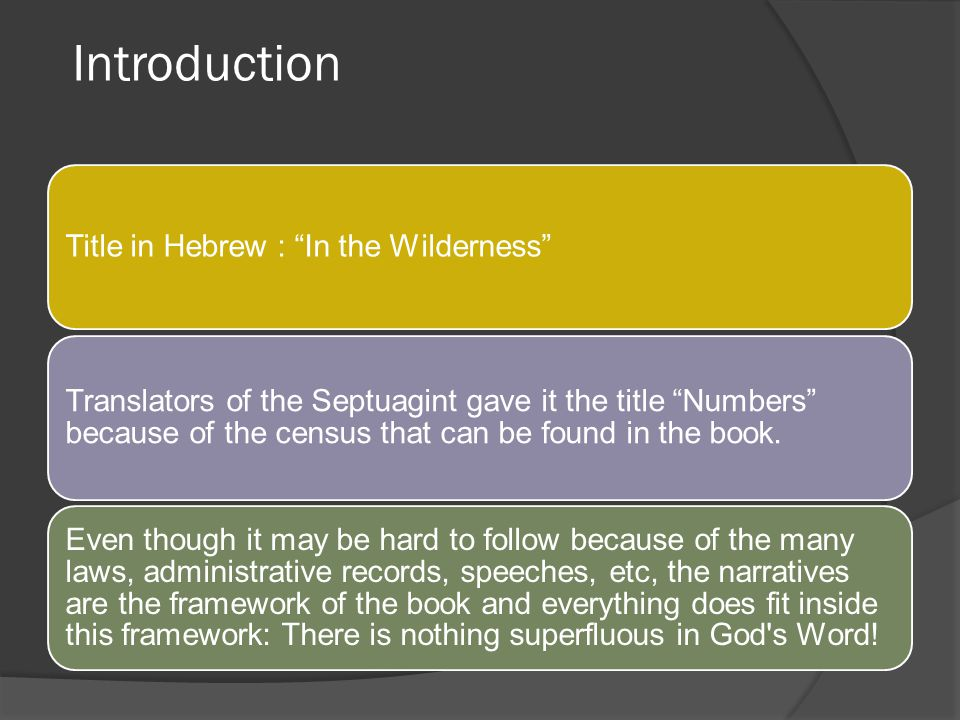 Introduction Title in Hebrew : In the Wilderness