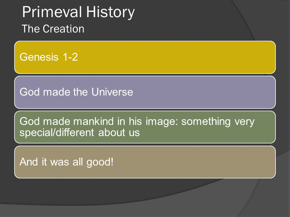 Primeval History The Creation
