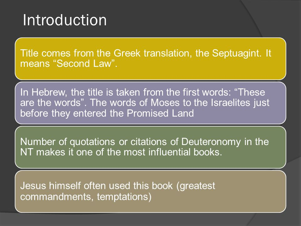 Introduction Title comes from the Greek translation, the Septuagint. It means Second Law .