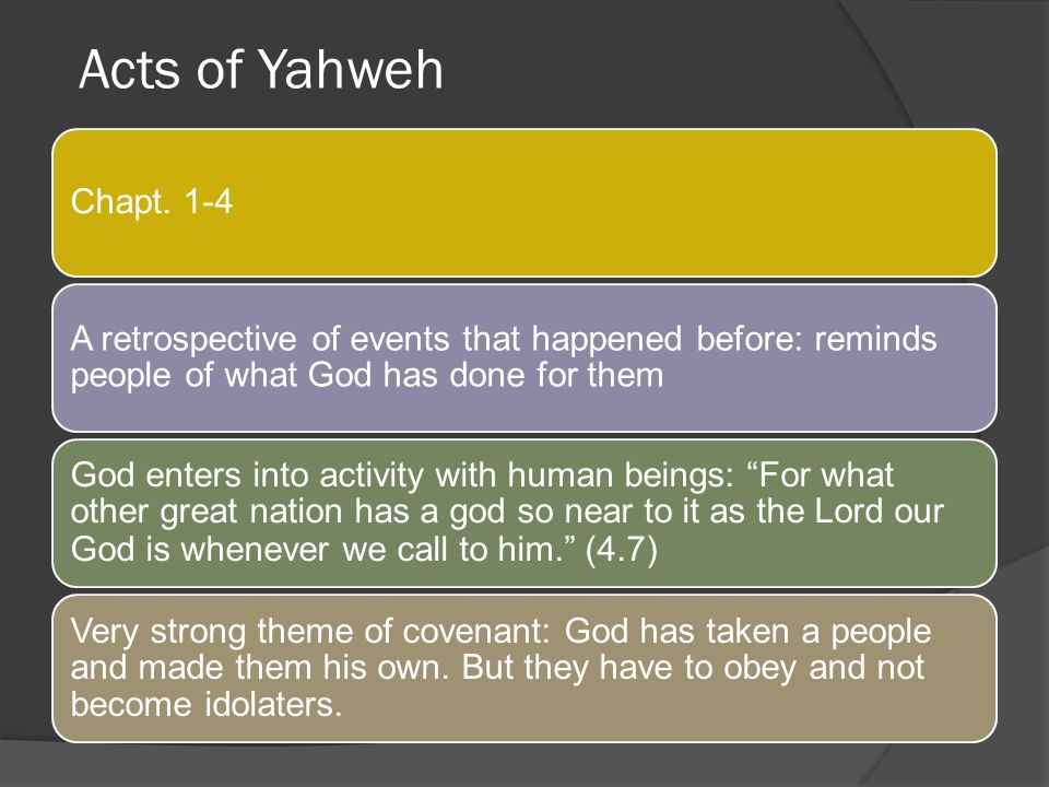 Acts of Yahweh Chapt. 1-4. A retrospective of events that happened before: reminds people of what God has done for them.
