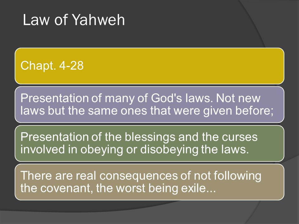 Law of Yahweh Chapt. 4-28. Presentation of many of God s laws. Not new laws but the same ones that were given before;