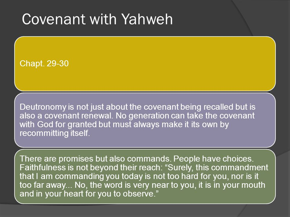 Covenant with Yahweh Chapt. 29-30