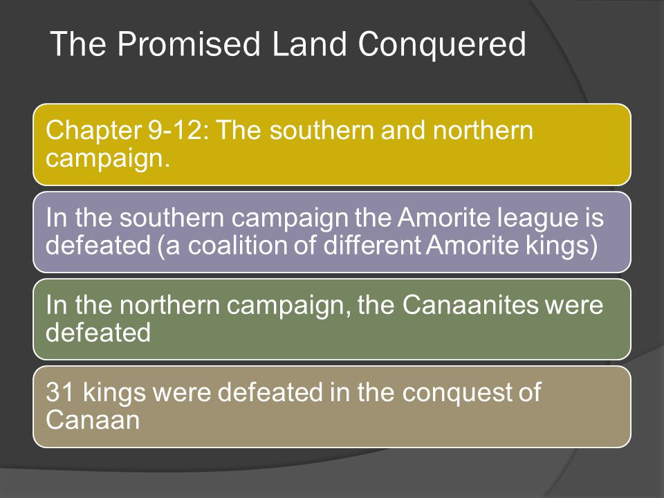 The Promised Land Conquered