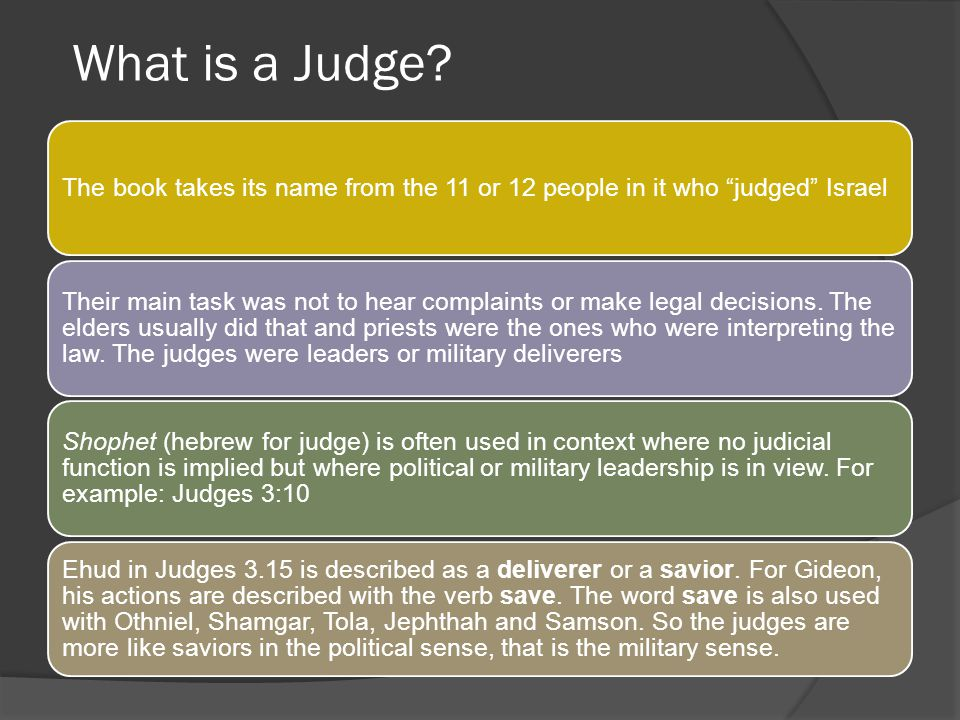 What is a Judge The book takes its name from the 11 or 12 people in it who judged Israel.