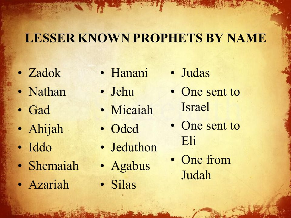 LESSER KNOWN PROPHETS BY NAME