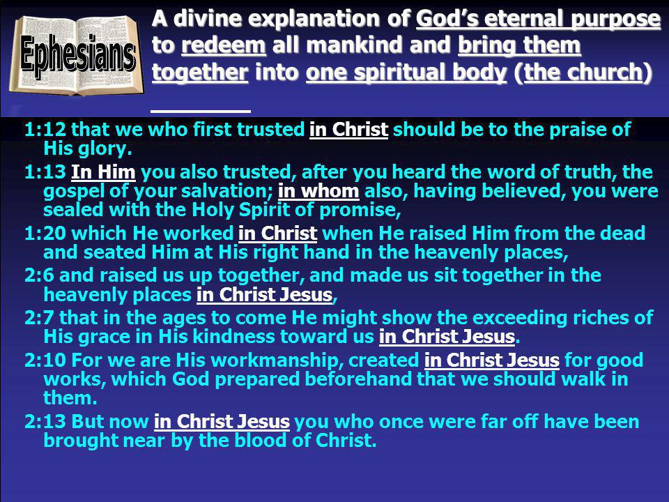 A divine explanation of God's eternal purpose to redeem all mankind and bring them together into one spiritual body (the church)