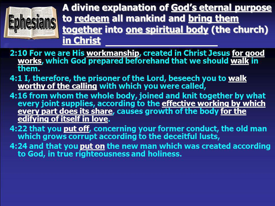 A divine explanation of God's eternal purpose to redeem all mankind and bring them together into one spiritual body (the church) in Christ