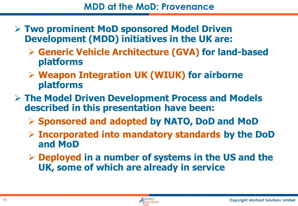 MDD at the MoD: Provenance