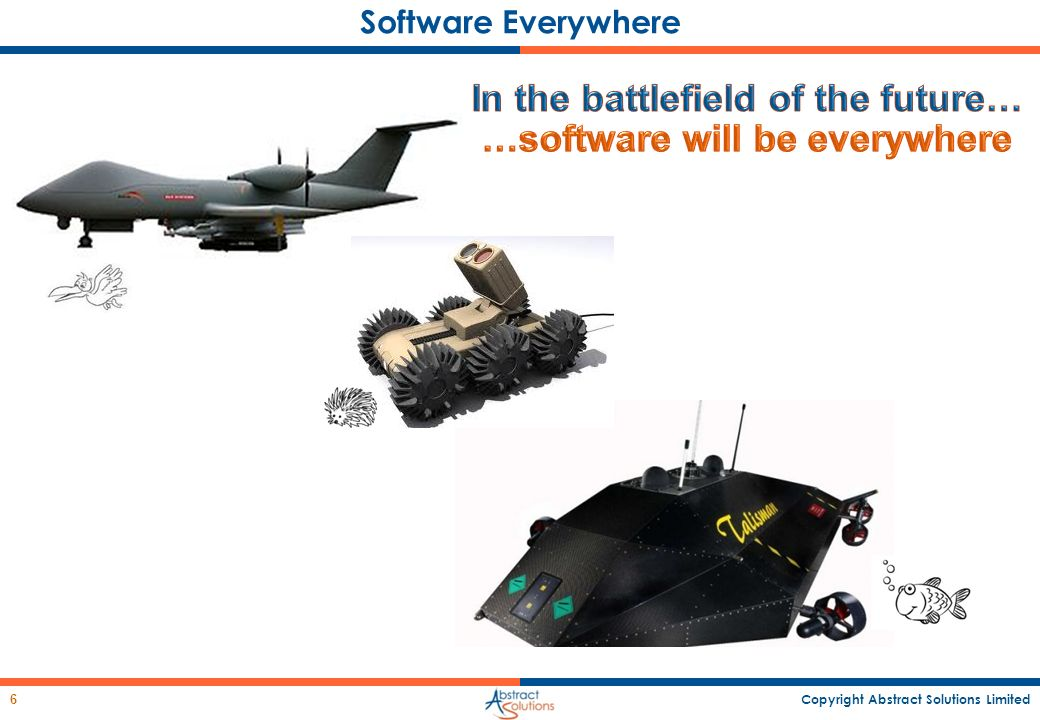 In the battlefield of the future… …software will be everywhere