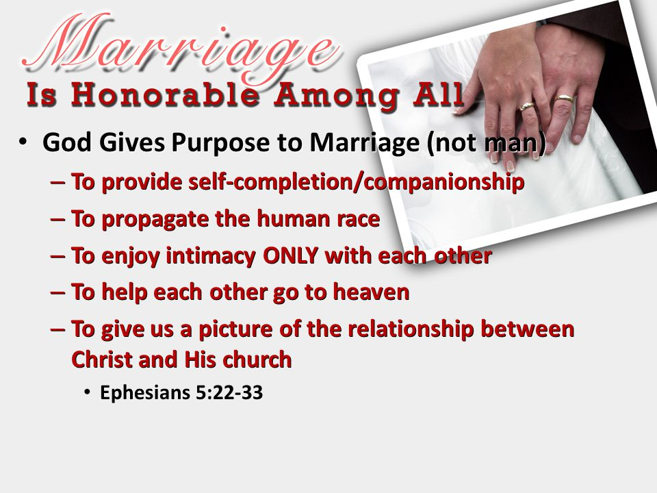 God Gives Purpose to Marriage (not man)