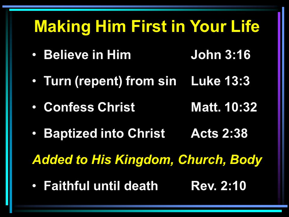 Making Him First in Your Life Added to His Kingdom, Church, Body