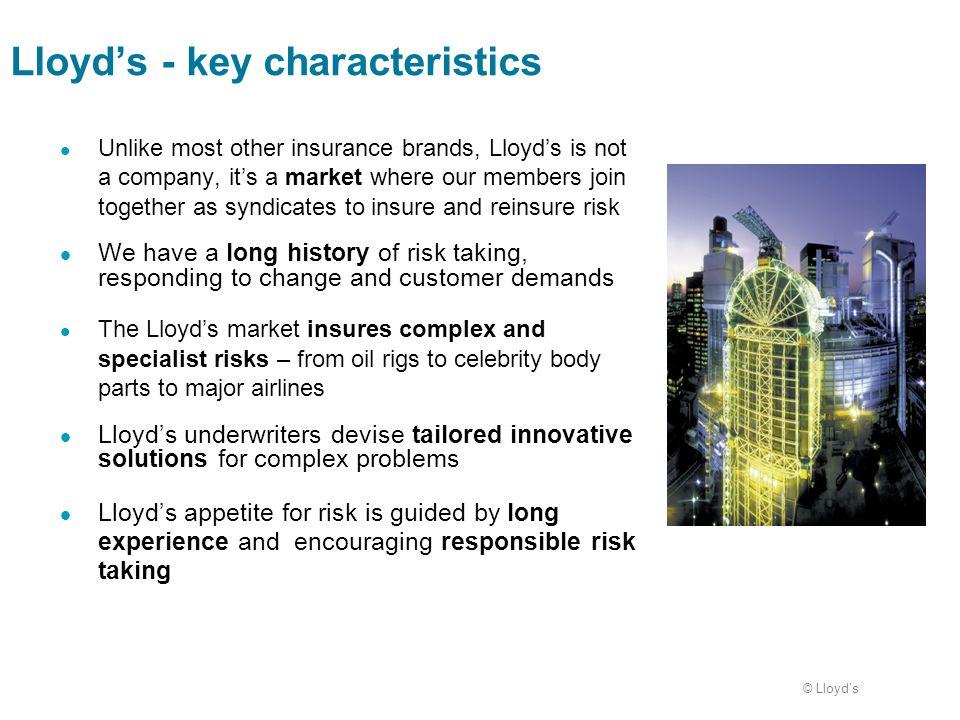 Lloyd's - key characteristics