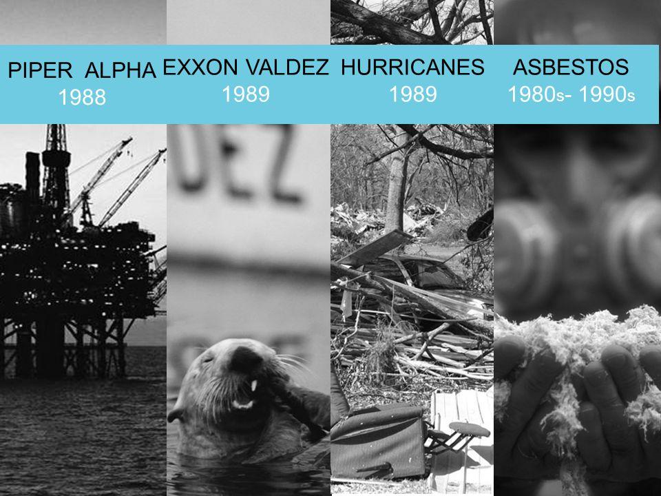PIPER ALPHA 1988 EXXON VALDEZ 1989 HURRICANES 1989 ASBESTOS 1980s- 1990s