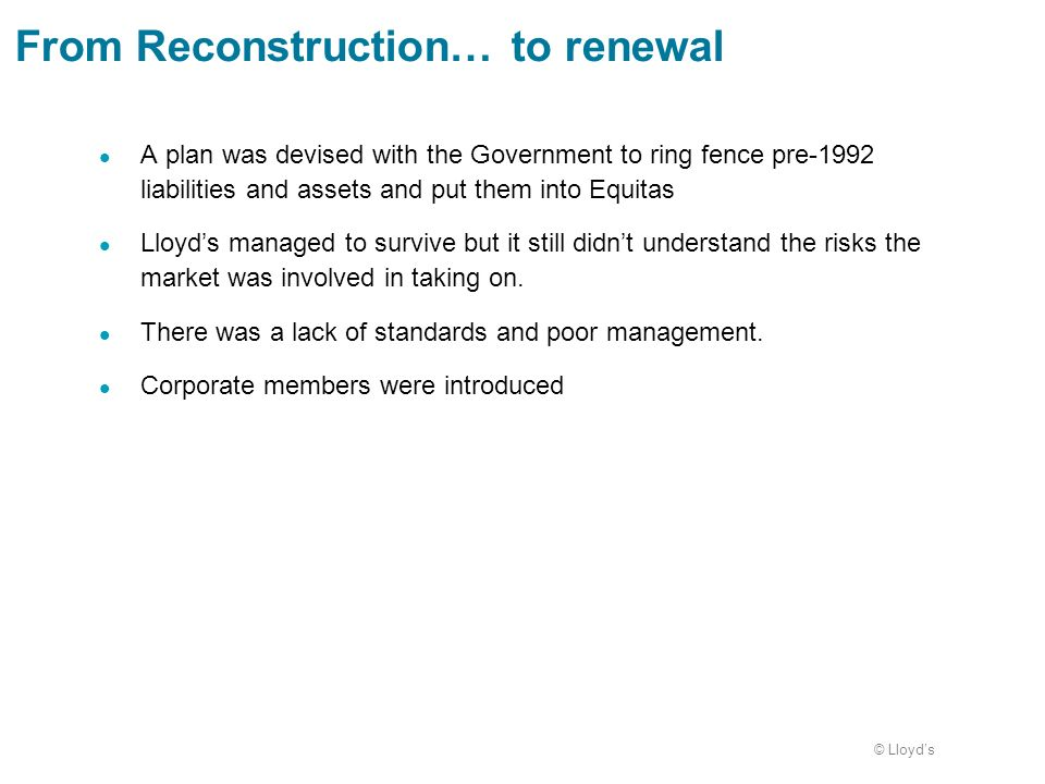 From Reconstruction… to renewal