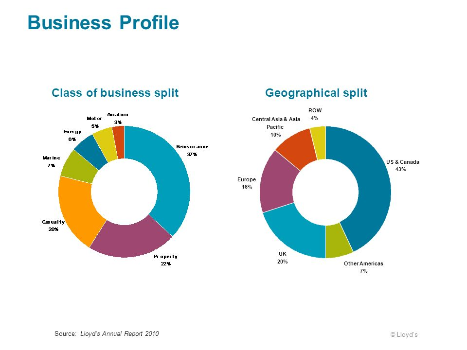 Business Profile Class of business split Geographical split