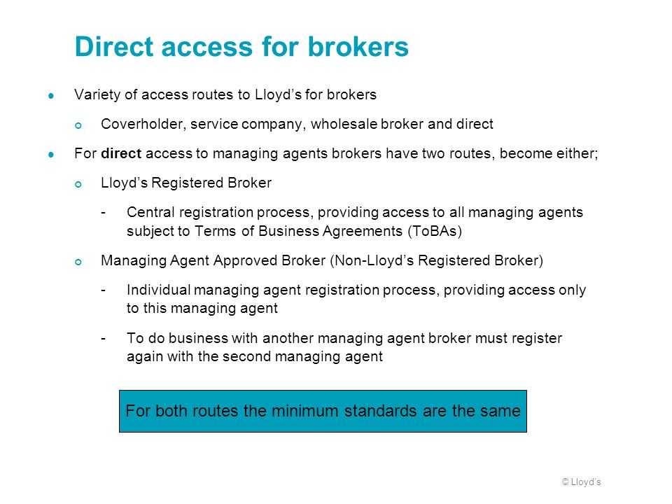 Direct access for brokers