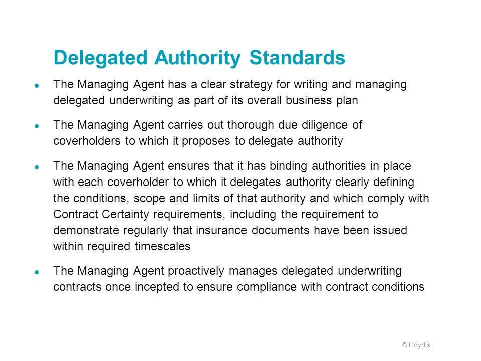Delegated Authority Standards
