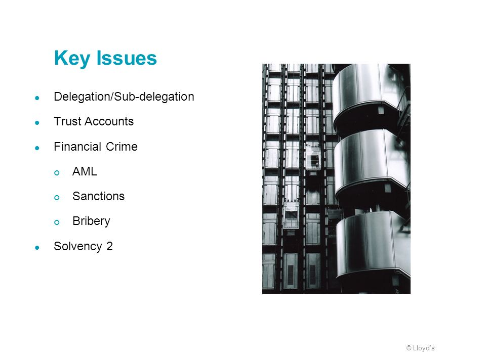 Key Issues Delegation/Sub-delegation Trust Accounts Financial Crime