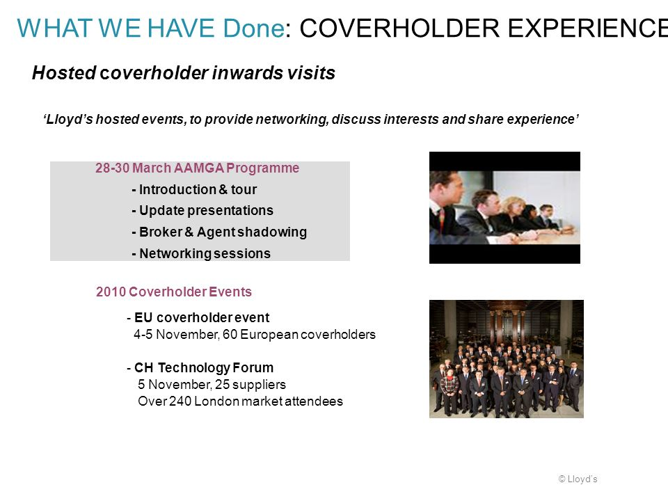 Hosted coverholder inwards visits