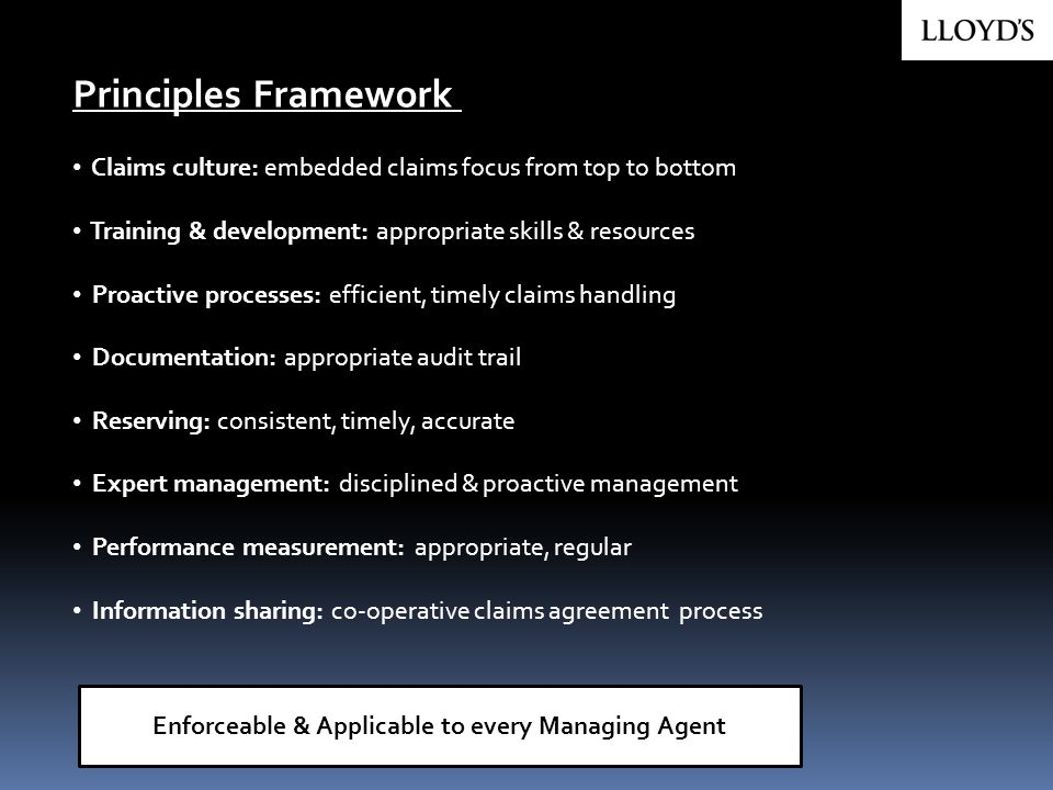 Enforceable & Applicable to every Managing Agent