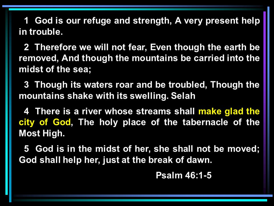 1 God is our refuge and strength, A very present help in trouble.