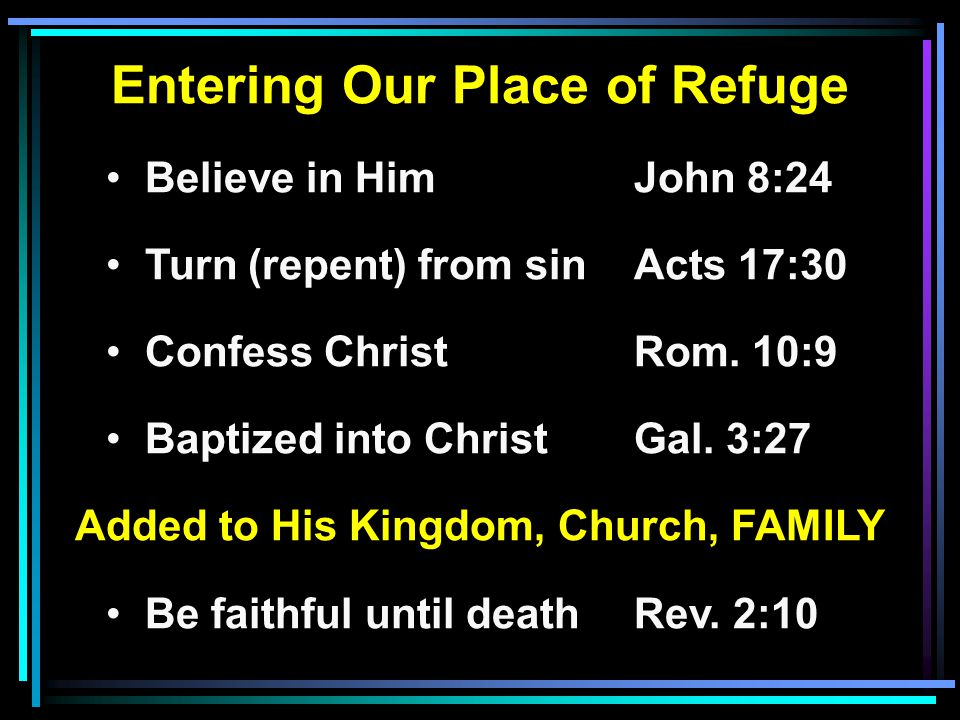 Entering Our Place of Refuge Added to His Kingdom, Church, FAMILY