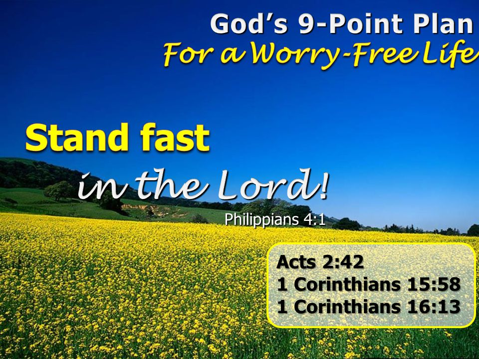 Stand fast in the Lord! God's 9-Point Plan For a Worry-Free Life