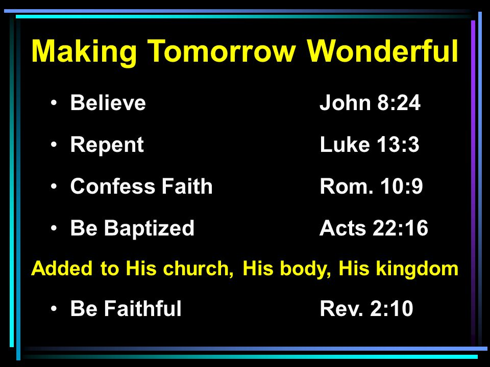 Making Tomorrow Wonderful Added to His church, His body, His kingdom