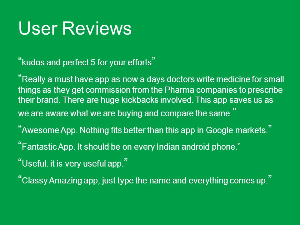 User Reviews kudos and perfect 5 for your efforts