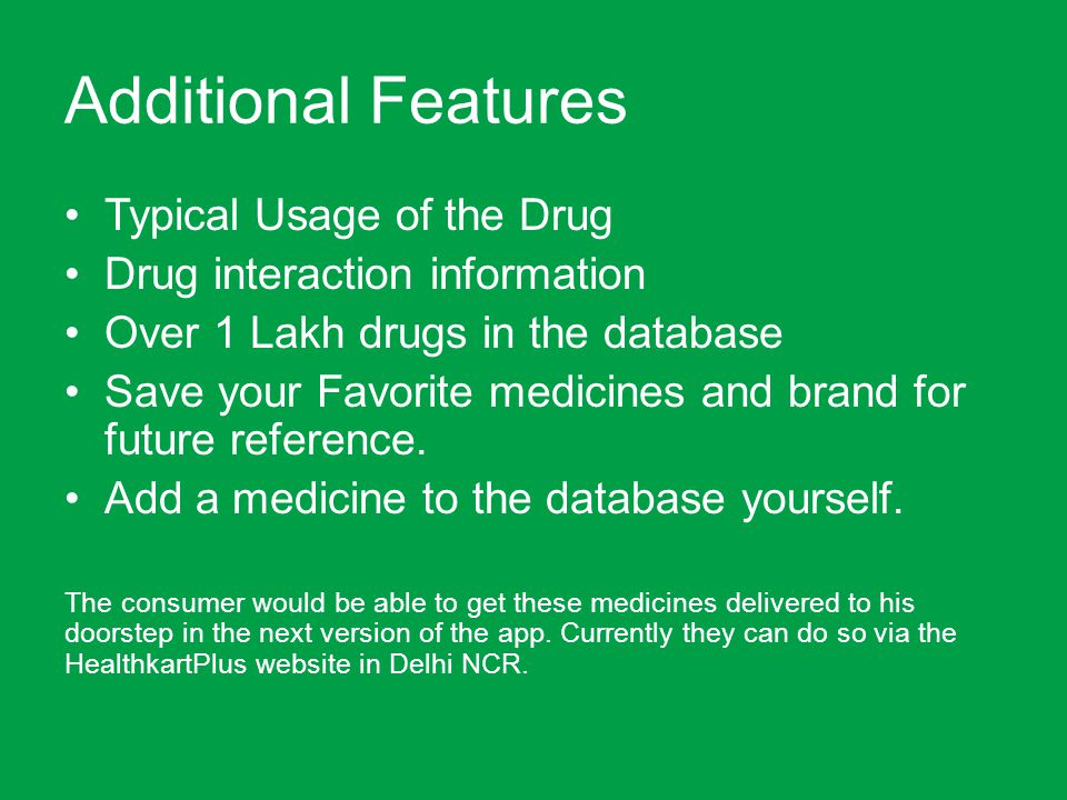 Additional Features Typical Usage of the Drug